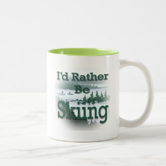 I'd Rather Be Skiing green Mugs