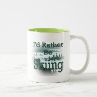 I'd Rather Be Skiing green Two-Tone Coffee Mug