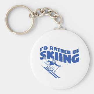 I'd Rather Be Skiing (male) Basic Round Button Keychain