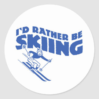 I'd Rather Be Skiing (male) Round Stickers