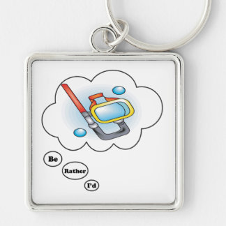 I'd rather be Snorkling Silver-Colored Square Keychain