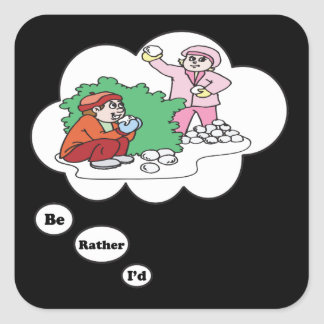 I'd rather be Snowball Fighting Square Sticker