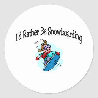 I'd Rather Be Snowboarding Classic Round Sticker