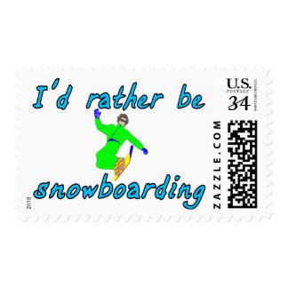 I'd rather be snowboarding postage stamp