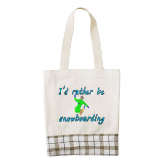 I'd rather be snowboarding zazzle HEART tote bag