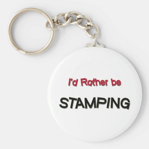 I'd Rather Be Stamping Basic Round Button Keychain
