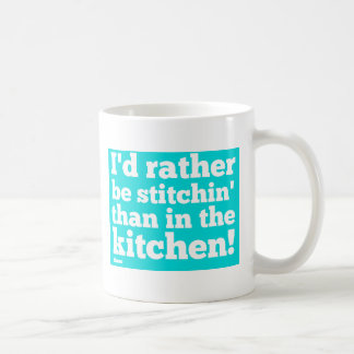 I'd Rather Be Stitchin - Cyan Coffee Mug
