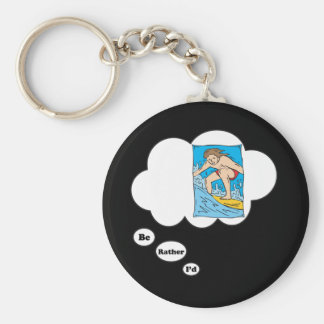 I'd rather be Surfing 3 Basic Round Button Keychain