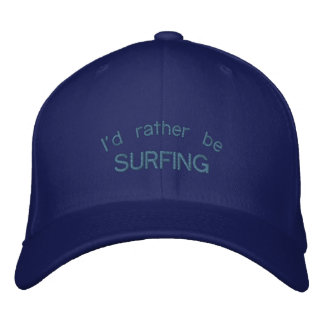 I'd Rather be Surfing Carolina Blue Embroidered Embroidered Baseball Hat