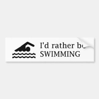 I'd rather be SWIMMING Bumper Sticker