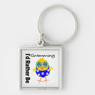 I'd Rather Be Swimming Chick Silver-Colored Square Keychain