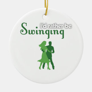 I'd Rather Be Swinging Double-Sided Ceramic Round Christmas Ornament
