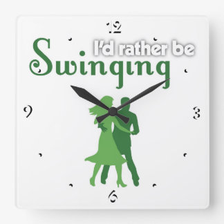 I'd Rather Be Swinging Square Wall Clock