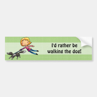 I'd rather be walking the dog bumper sticker