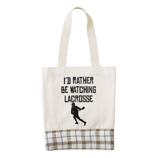 I'd Rather Be Watching Lacrosse Zazzle HEART Tote Bag