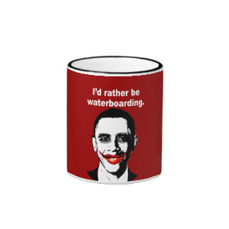 I'D RATHER BE WATERBOARDING RINGER COFFEE MUG