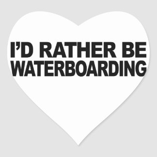 I'd Rather Be Waterboarding Heart Sticker