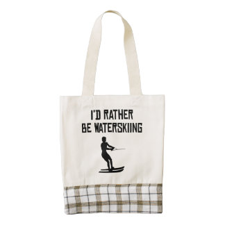 I'd Rather Be Waterskiing Zazzle HEART Tote Bag