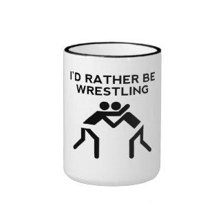 I'd Rather Be Wrestling Ringer Coffee Mug