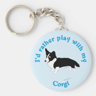 I'd Rather Play With My Corgi Key Chain