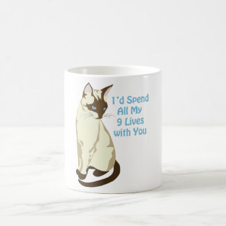 'I'd Spend All My 9 Lives with You' Cute Cat's Tee Coffee Mug