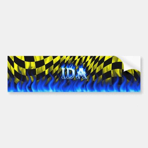 Ida blue fire and flames bumper sticker design