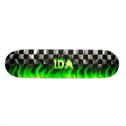 Ida green fire Skatersollie skateboard. Skateboard Deck