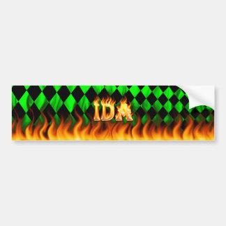 Ida real fire and flames bumper sticker design.