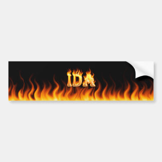 Ida real fire and flames bumper sticker design.