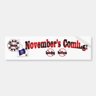 Idaho Anti ObamaCare – November's Coming! Bumper Sticker