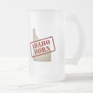Idaho Born - Stamp on Map Frosted Glass Beer Mug