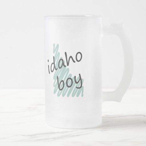 Idaho Boy on Child's Idaho Map Drawing Frosted Glass Beer Mug