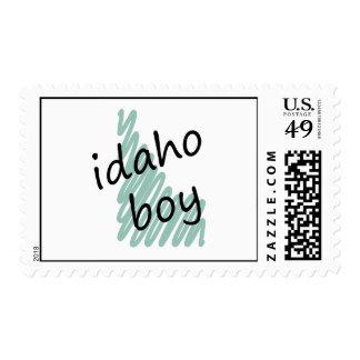 Idaho Boy on Child's Idaho Map Drawing Stamp