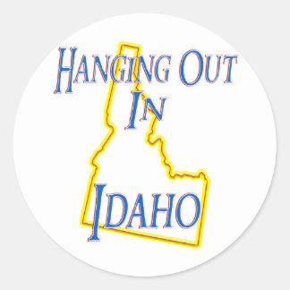 Idaho - colgando hacia fuera pegatinas redondas