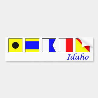 Idaho deletreó en alfabeto náutico de la bandera etiqueta de parachoque