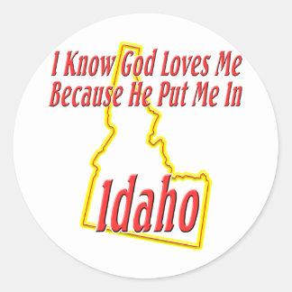 Idaho - dios me ama pegatinas redondas