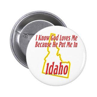 Idaho - dios me ama pin redondo de 2 pulgadas