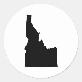 Idaho en negro pegatina redonda