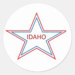 Idaho en una estrella pegatina redonda