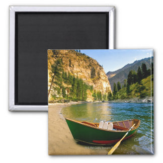 IDAHO, Fishing boat on a sandy beach in the 2 Inch Square Magnet