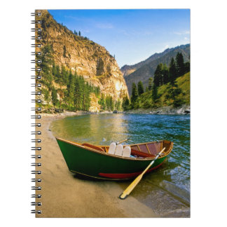 IDAHO, Fishing boat on a sandy beach in the Notebook