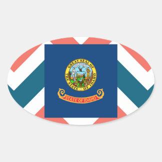 Idaho Flag Box on Colorful Chevron Oval Sticker