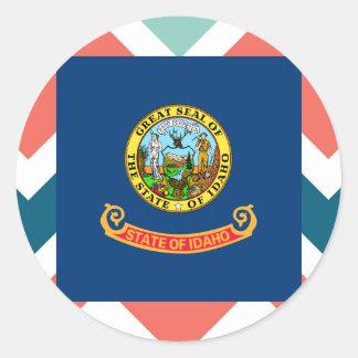 Idaho Flag Box on Colorful Chevron Classic Round Sticker