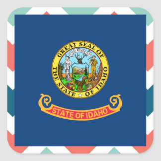 Idaho Flag Box on Colorful Chevron Square Sticker