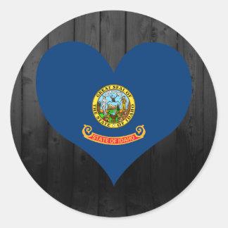 Idaho flag colored classic round sticker