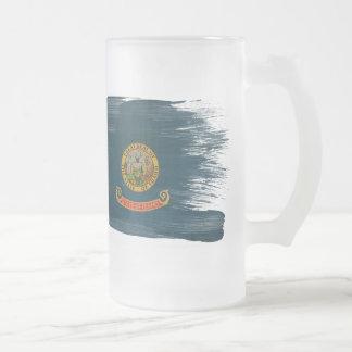 Idaho Flag Frosted Glass Beer Mug