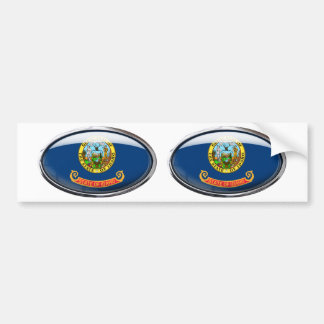 Idaho Flag Glass Oval Bumper Sticker