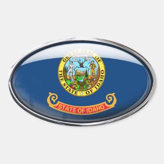 Idaho Flag Glass Oval Oval Sticker