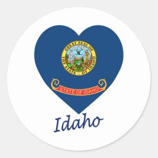 Idaho Flag Heart Classic Round Sticker