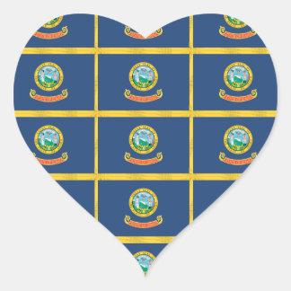IDAHO Flag Pattern Heart Stickers